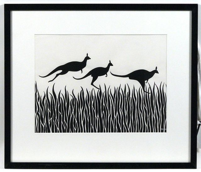 Drawing of three kangaroos hopping over grass, by Mini Heath.