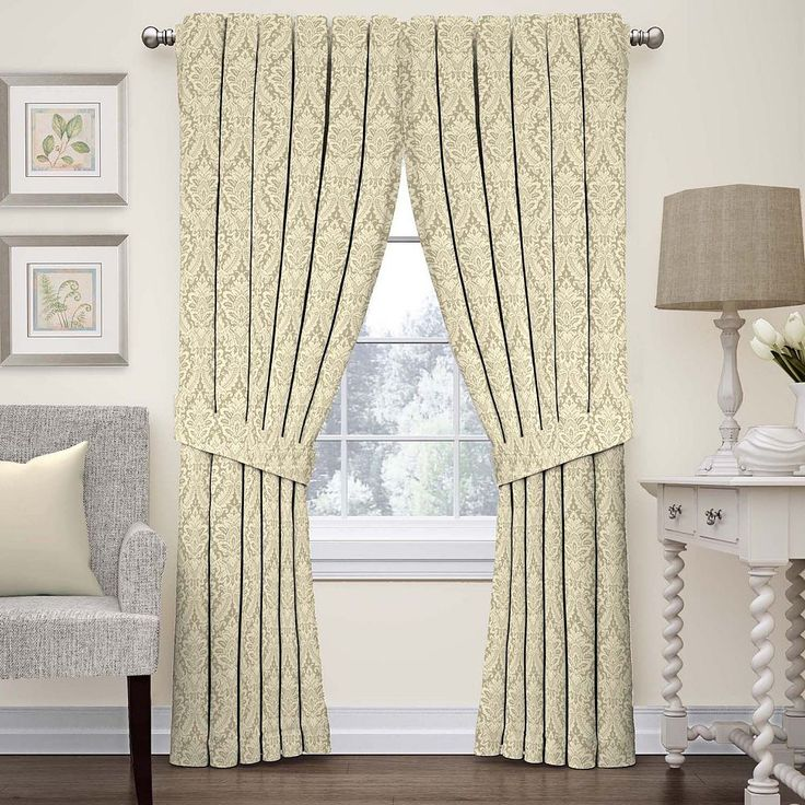 Waverly Donnington Damask Curtain, Beig/Green (Beig/Khaki)