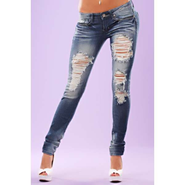 torn jeans | MEDIUM BLUE FADED RIPPED 5 POCKET SKINNY JEANS DENIM | ThisNext - 70 Best ♡ Skinny Jeans ♡ Images On Pinterest