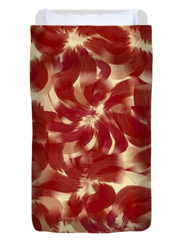 Twin Size Duvet Cover of 'Dark Red, Brown And Cream' by Sumi e Master Linda Velasquez.