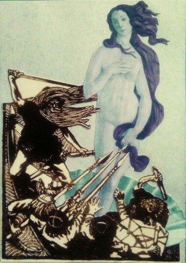 Väinämöinen meets Venus or Metsä-Suomen puolustus (Gallen-Kallela, Botticelli)