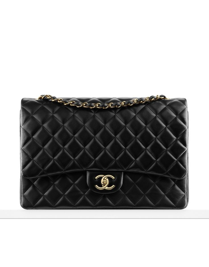 Classics - Large classic flap bag in quilted lambskin. Also available in silver metal