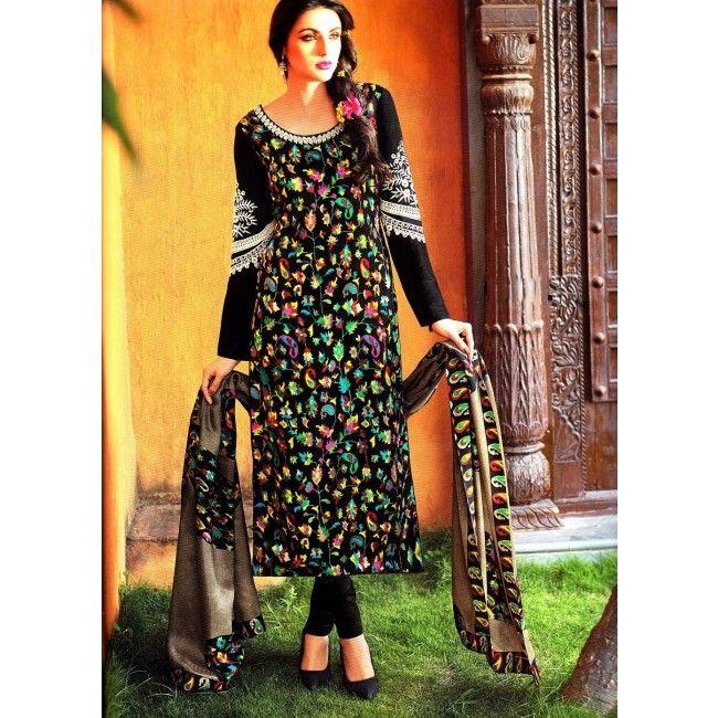Flowery-Black-Pashmina-silk-suit