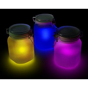 Solar powered glow light jars