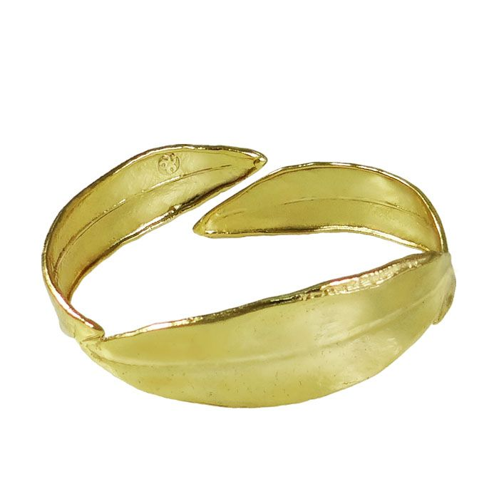 Gold-plated bracelet, inspired by the olive tree, which is considered to be the symbol of peace and creation, as well as, the sacred tree of the ancient city of Athens. The bracelet is created by three olive leaves, which are copied from an actual olive leaf.  Dimensions: 6cm x 7cm  Gold-plated 24K bronze