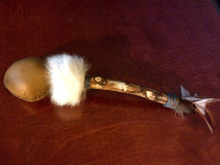 Rattle with birch handle