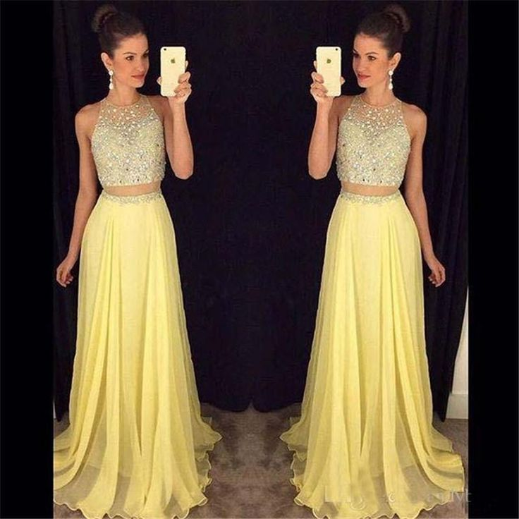 2016 New Prom Dresses Sparkly Crystal Beads Jewel Neck Illusion Two Pieces Long Yellow Pearl Pink Chiffon Party Formal Pageant Evening Gowns Online with $129.85/Piece on Haiyan4419's Store | DHgate.com