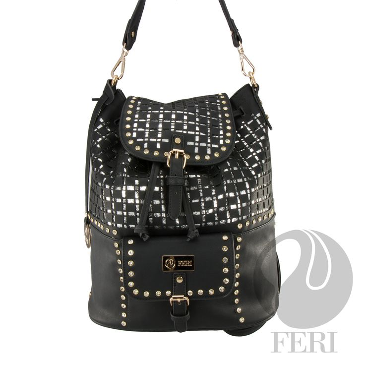 "FERI Day2Day - Miley - Backpack - Black - Black and silver metallic PU and genuine leather backpack style bag - Specialized laser cut layer for unique design - Embellished with gold toned metal studs with clear stones - Magnetic snap with drawstring closure - Front pocket with magnetic closure  - Dimension: 11.8"" x 13.4"" x 5.9"" (Width x Height x Depth)  www.gwtcorp.com/ghem or email fashionforghem.com for big discount"
