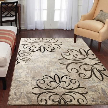 Better Homes and Gardens Iron Fleur Area Rug - Walmart.com 6'7 x 9'8 is largest size for 136