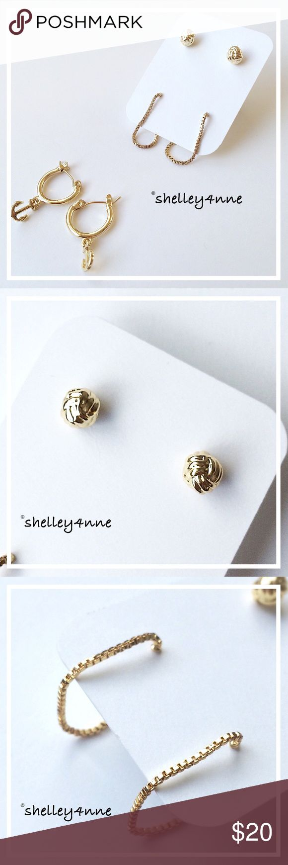 Nautical Earring Set Three pairs of gold tone earrings: knot studs - rope drops - anchor hoops | never worn, perfect condition Jewelmint Jewelry Earrings