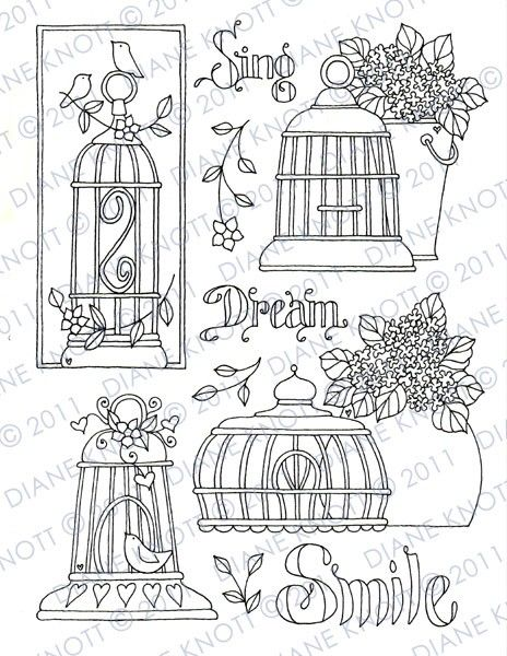 Digital Stamp / Embroidery Pattern - Birdcages