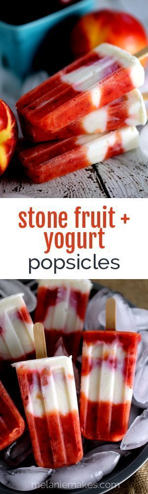 Mangos, nectarines and plums are blended together before being layered with honey sweetened Greek yogurt.  Not only are these Stone Fruit and Yogurt Popsicles loaded with fresh fruit but they also pack a protein punch thanks to the yogurt.
