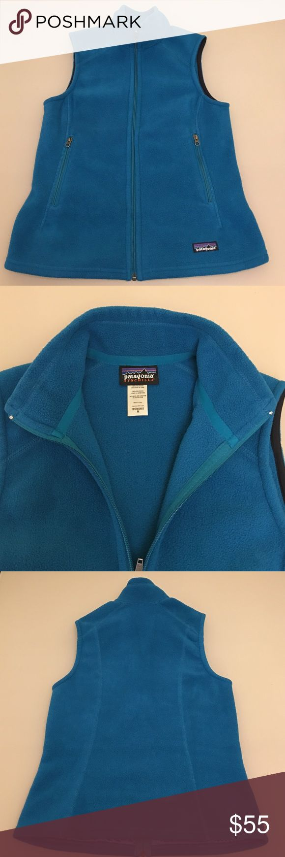 Patagonia Fleece Vest Patagonia Synchilla Fleece Vest   Made of bluesign® approved midweight polyester fleece  Full-zip vest with stand-up collar Two zippered handwarmer pockets Elasticized binding at armholes and hem Hip length In great condition! No flaws  🚫No trades 😊Thank you Patagonia Jackets & Coats Vests
