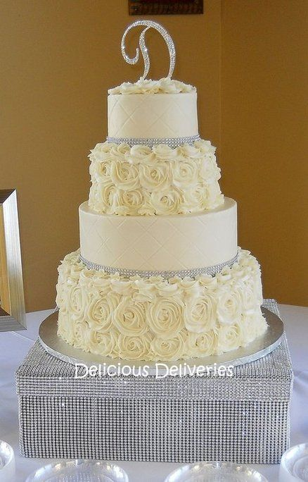 Buttercream Rosette Wedding Cake- what it would look like with ribbon
