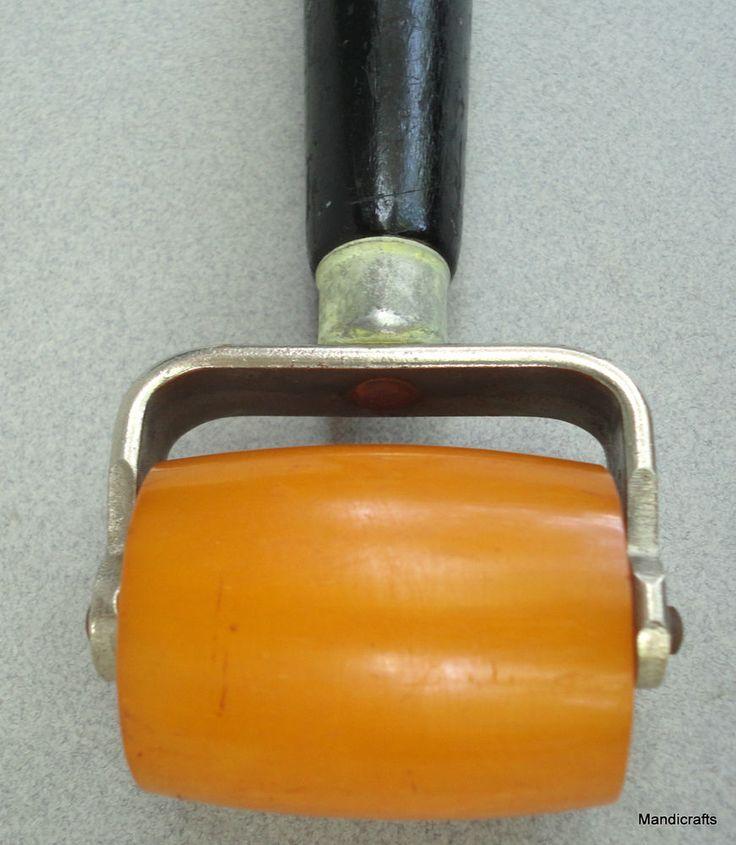 IP Hyde Wallpaper Seam #Roller #Bakelite Butterscotch Wood Handle Tool Jewelry Vtg