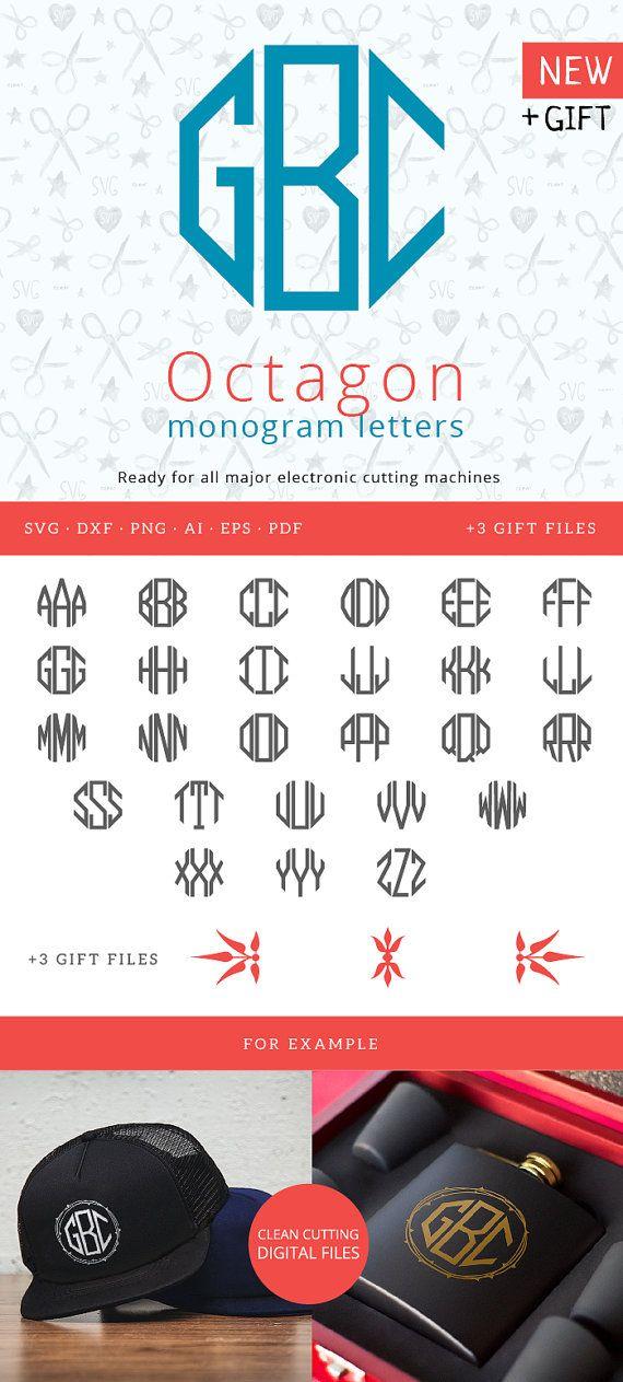 Alphabet Letters Octagon for Circle Monograms svg for Silhouette Studio Cricut Vinyl Cutter Heat Press Transfer Cuttable Monogram letters