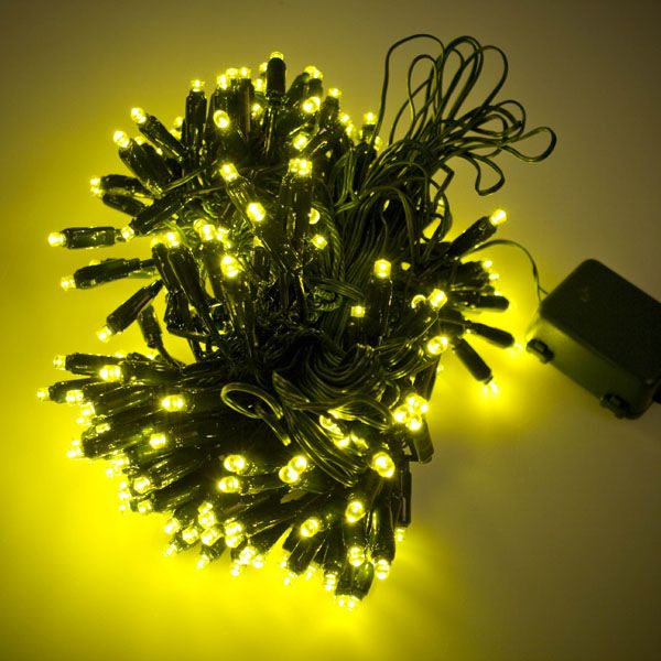 19.9m Length of 200 Yellow LED Static Supabrights Indoor and Outdoor Fairy Lights - Fairy Lights UK   Fairy LED Lights   Outdoor Fairy Lights