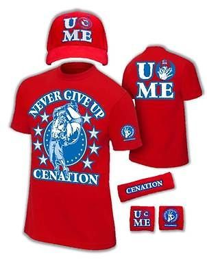 John Cena Kids Red Costume Hat T-shirt Wristbands Boys