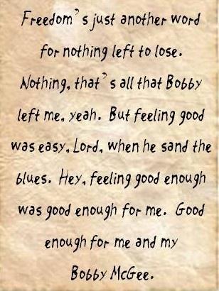 Me and Bobby McGee Janis Joplin lyrics