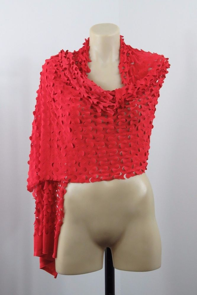 Ladies Red Scarf Wrap Cocktail Shimmer Boho Chic Retro Layer Wave Cut Design #Unbranded #ShawlWrap