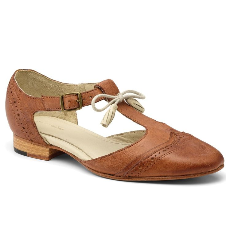 Nebula Women's Dark Tan Leather Brogues With Side Cut Outs D5906