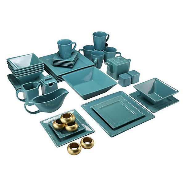 45-Pc Beaded Square Dinner Set Teal Place Settings ($165) ❤ liked on Polyvore featuring home, kitchen & dining, teal, square dinnerware sets, beaded dinnerware set, 10 strawberry street dinnerware sets, contemporary dinnerware sets and 10 strawberry street
