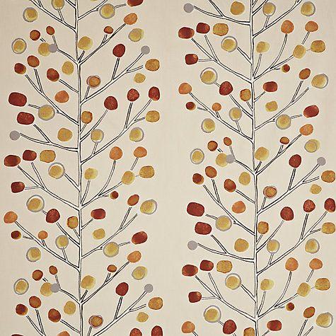Scion Berry Tree Lined Pencil Pleat Curtains, Orange Online at johnlewis.com