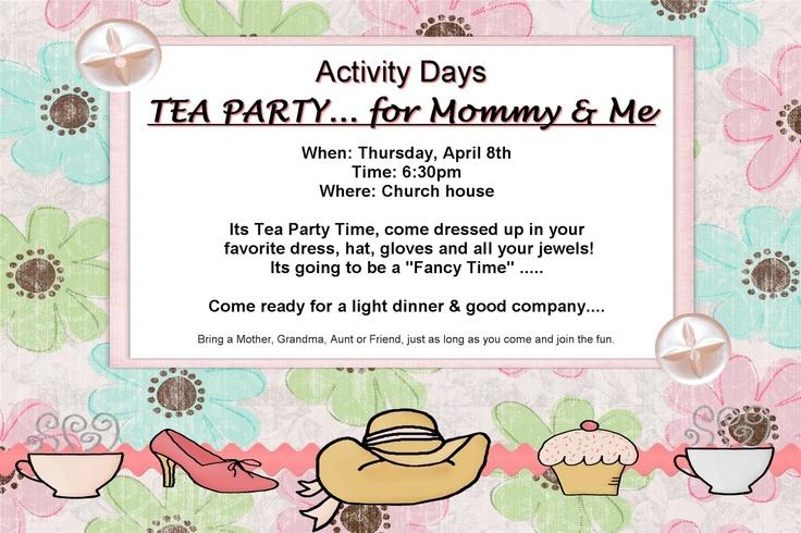 Daughters Activities, Activities Day, Tea Parties, Daughters Teas