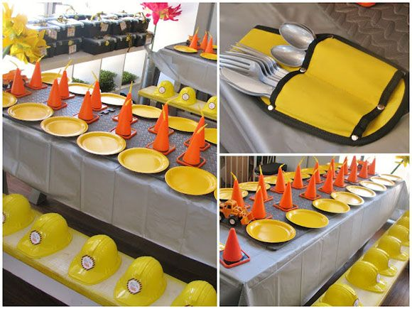 construction party place settings