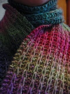 """""""My Garter Slipped"""" Scarf Noro Silk Garden (2 skeins). Color 87 pictured. Needles: Size 9 Gauge: Not that important, but row gauge @ 18 st/4 in (after blocking). Finished Measurements: I blocked mine out to 6"""" x 60"""" Cast on 26 sts. Rows 1-4: knit. Row 5: (k2, sl 1) 8 times, k2 Row 6: (k2, sl 1 wyif) 8 times, k2 Row 7: (k2, sl 1) 8 times, k2 Row 8: (k2, p1) 8 times, k2 Repeat Rows 5-8 (102 times) Knit 4 Rows. Bind off."""