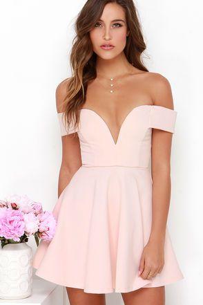 Cute Off-the-Shoulder Dress - Light Pink Dress - Skater Dress - $49.00