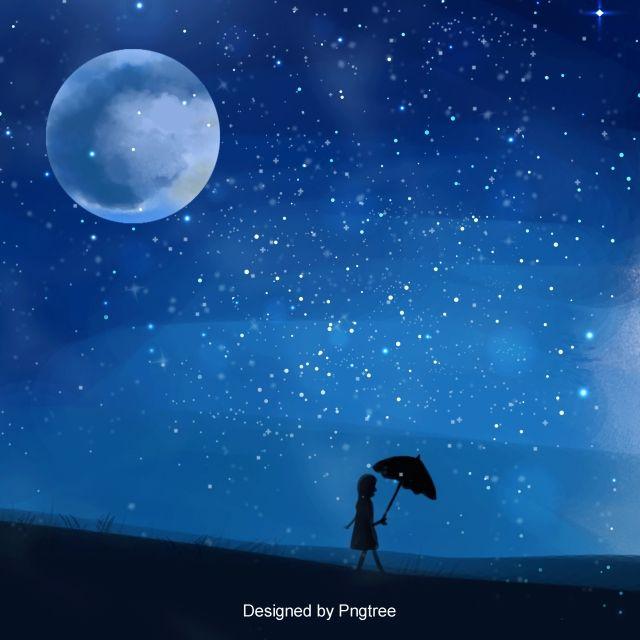 فتاة رسمت خلفية السماء الزرقاء Background Images Star Girl Background