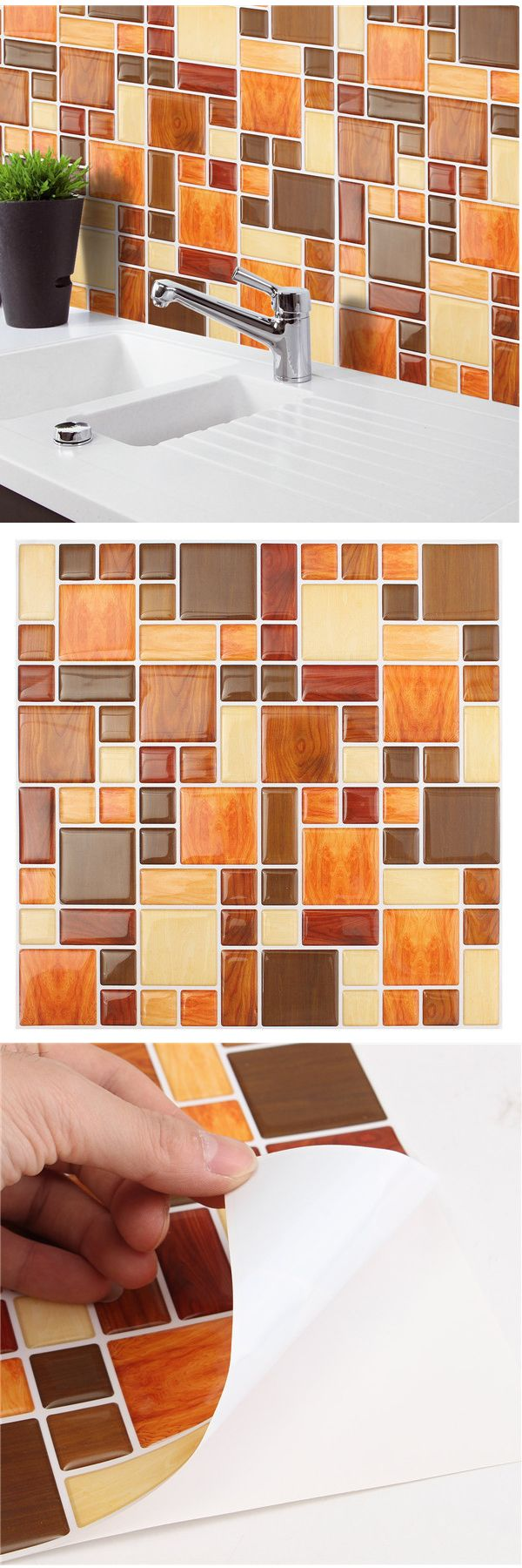 I love decorate my home with the gadgets:)$7.11 Brown Creative 3D Mosaic Wall Stickers Backsplash Tile Wallpaper Home Bathroom Kitchen Decor