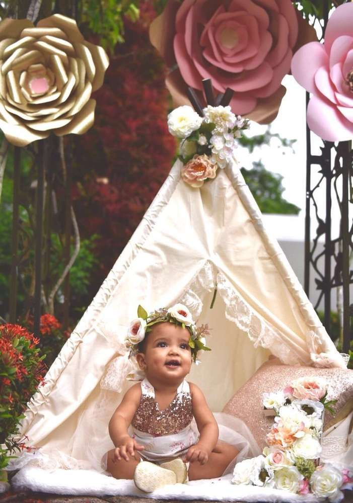 Boho Glam 1st Birthday  | CatchMyParty.com                                                                                                                                                                                 More