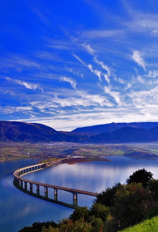 The Neraida bridge (1352 m.) over the artificial lake of the river Aliakmonas in Kozani Prefecture