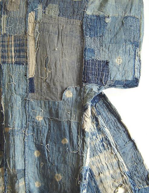 Detail: An Indigo Dyed Boro Yogi, or Kimono-Shaped Duvet by Sri Threads