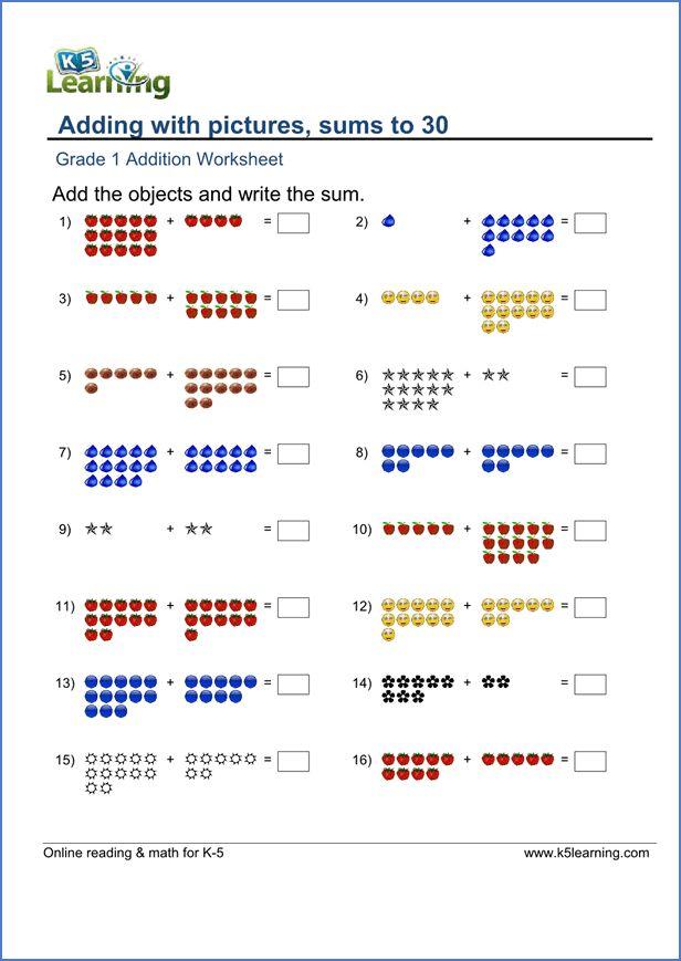 Grade 1 Math Worksheet Sample