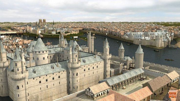 Le Château du Louvre protégeait la ville à l'ouest, fermant le passage de la Seine avec la Tour de Nesle (aujourd'hui disparue) sur la rive gauche. Les habitués du Paris contemporain remarqueront l'absence du Pont des Arts