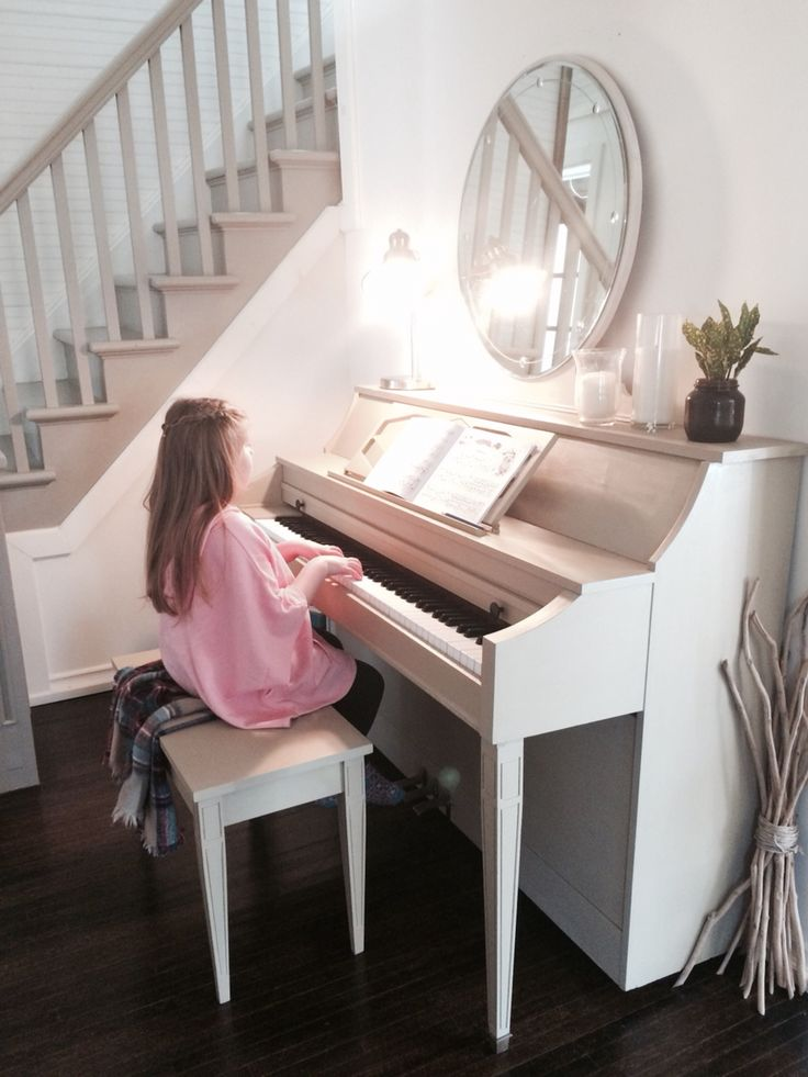 "Trash to treasure Chalk painted piano, white walls, grey stairs. ""Like"" our facebook page! #allwhite #paino #chalkpaint"