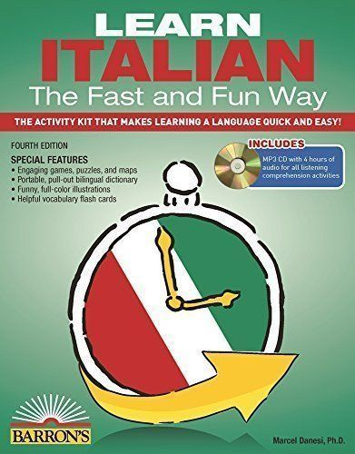 This unique book makes learning Italian easy, practical, and fun! Suitable for teaching adults, as well as older children, Barron's Learn Italian the Fast and Fun Way covers the basics of reading, writing, understanding, and speaking Italian. The engaging, interactive lessons and exercises can be done in just a few minutes per day. Readers will pick up enough Italian for most everyday situations—from meeting and greeting people to asking directions and handling simple business transactions.