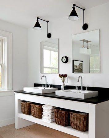 Nat et nature: Déco black & white n°2 : la salle de bains: