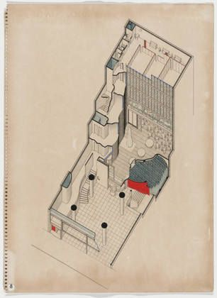 Oscar Nitzchke. Maison de la Publicité Project, Paris, France, Cut-away axonometric. 1936