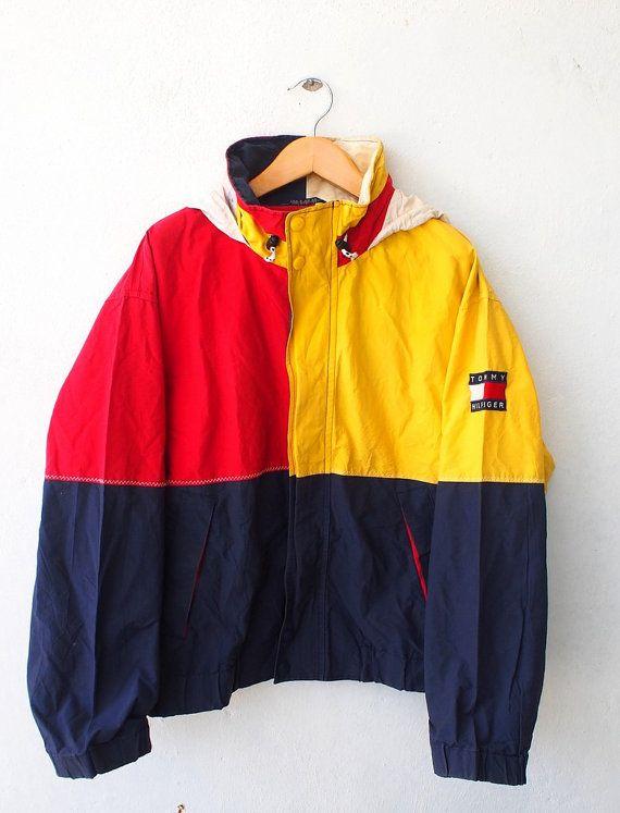 tommy hilfiger color block neon vintage 90 u0026 39 s hip hop