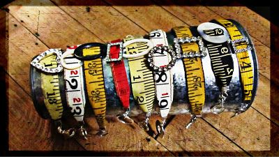 An amazing blog with a ton of gorgeous found-object jewelry. I love these tape measure bracelets.