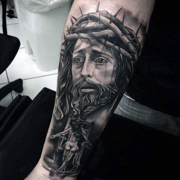 Man With Forearm Sleeve Of Jesus Christ