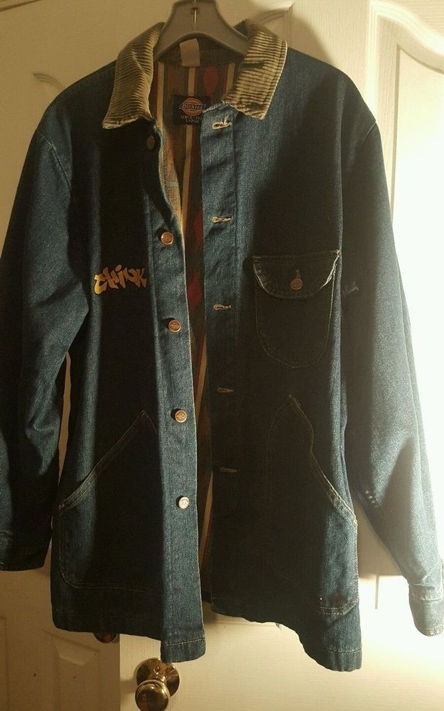 Vintage Dickies x Think Skateboards Denim Chore Jacket Size L Made in USA ranch #Dickies #Jacket