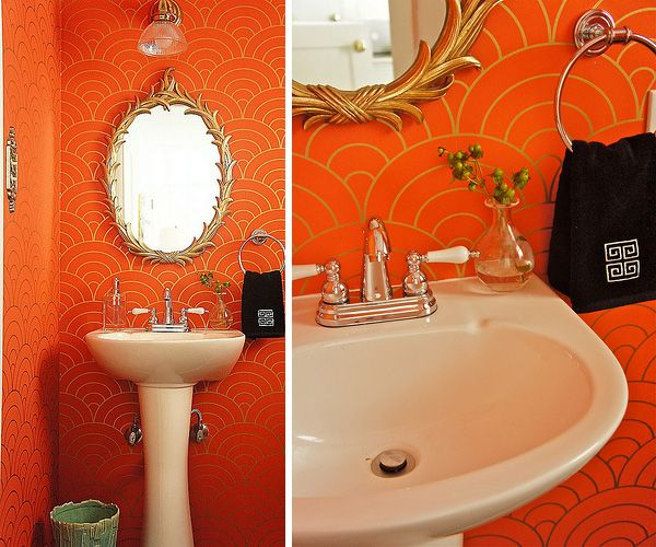 orange and gold bathroom wallpaper.