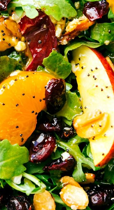 Candied Almond, Mandarin, and Apple Salad with an Orange Poppyseed Dressing