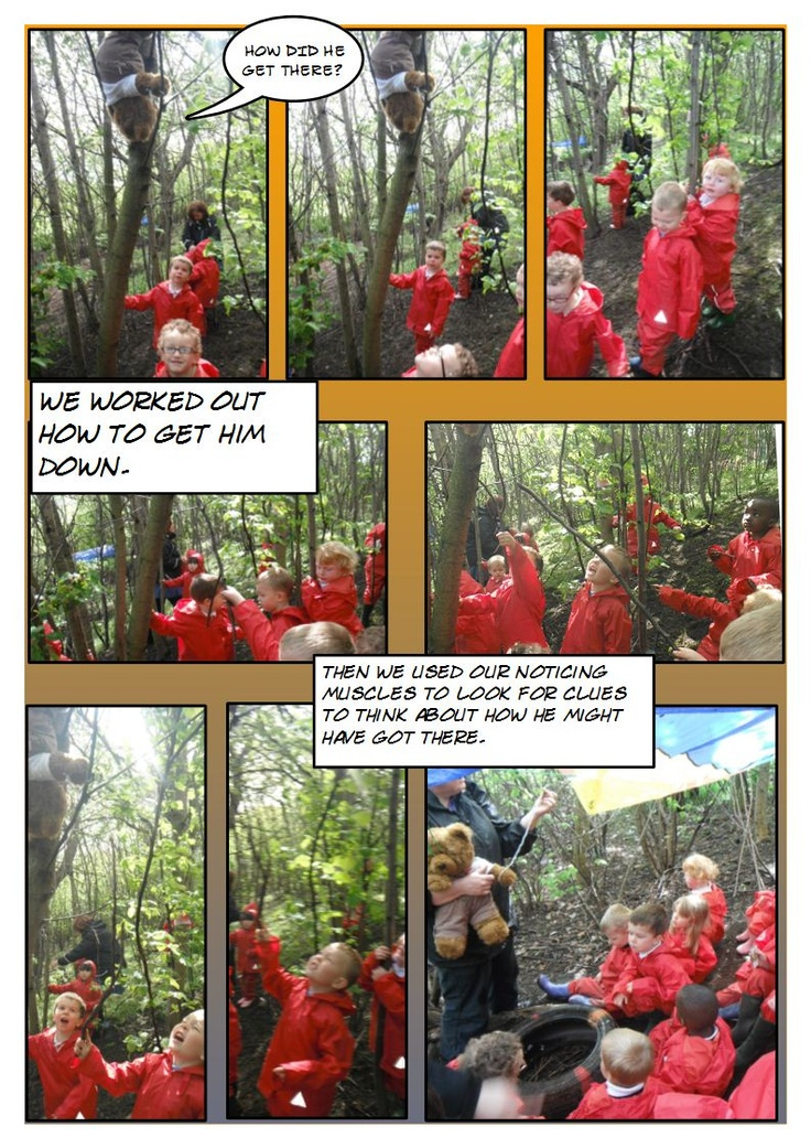 Look what who we found stuck up a tree when we went for a walk in the woods. F1 group, collaborating and problem solving to get him down, and then looking for clues to think about how he might have got there.