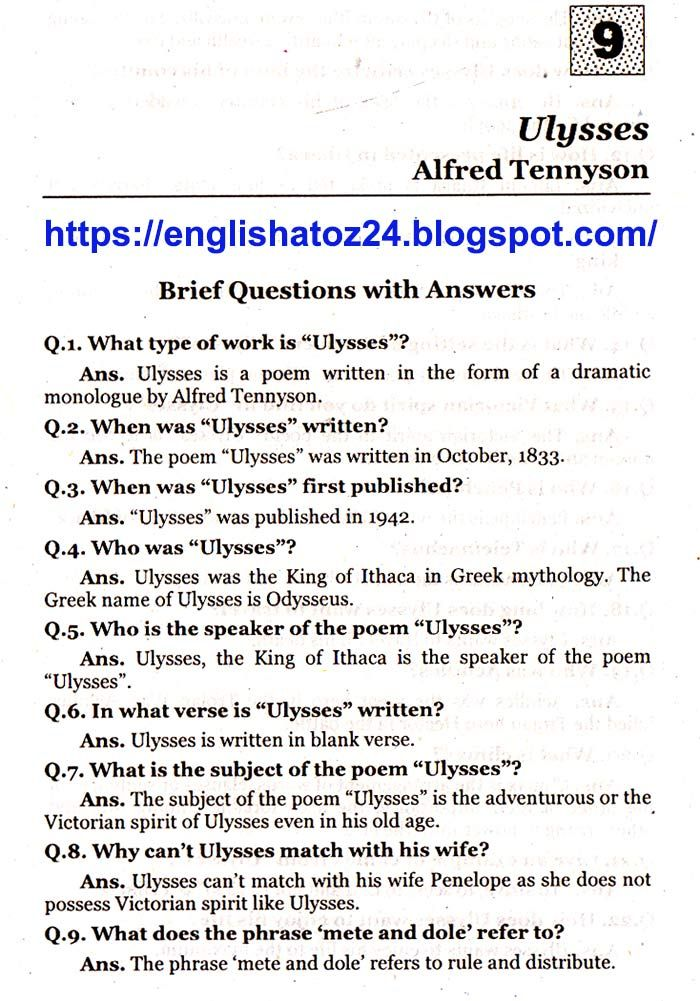 Brief Questions With Answers Ulysses Alfred Tennyson With